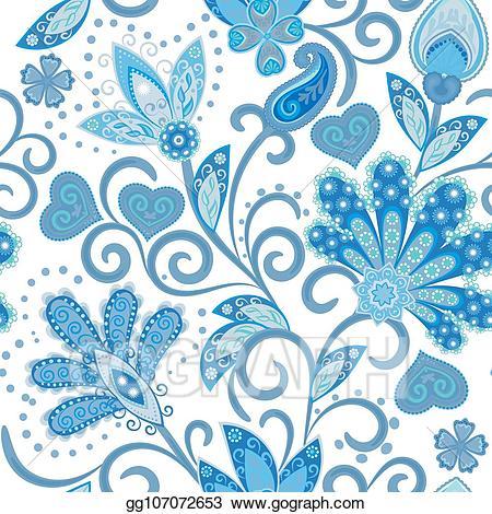 Batik pattern clipart clip free Vector Art - Vintage pattern in indian batik style. floral hand draw ... clip free