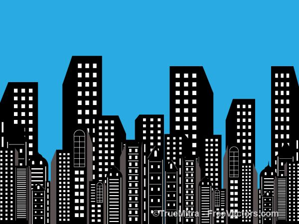 Background building clipart png free library Buildings Background | Free Vectors | Building, Batman silhouette ... png free library