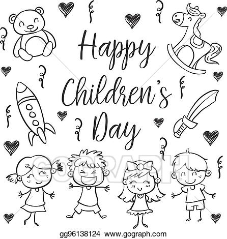 Background children-s day clipart image freeuse EPS Illustration - Hand draw childrens day style. Vector Clipart ... image freeuse