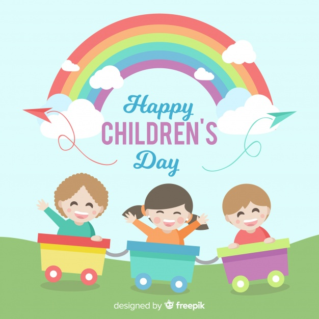 Background children-s day clipart vector royalty free stock Happy children\'s day background with kids in train and rainbow ... vector royalty free stock