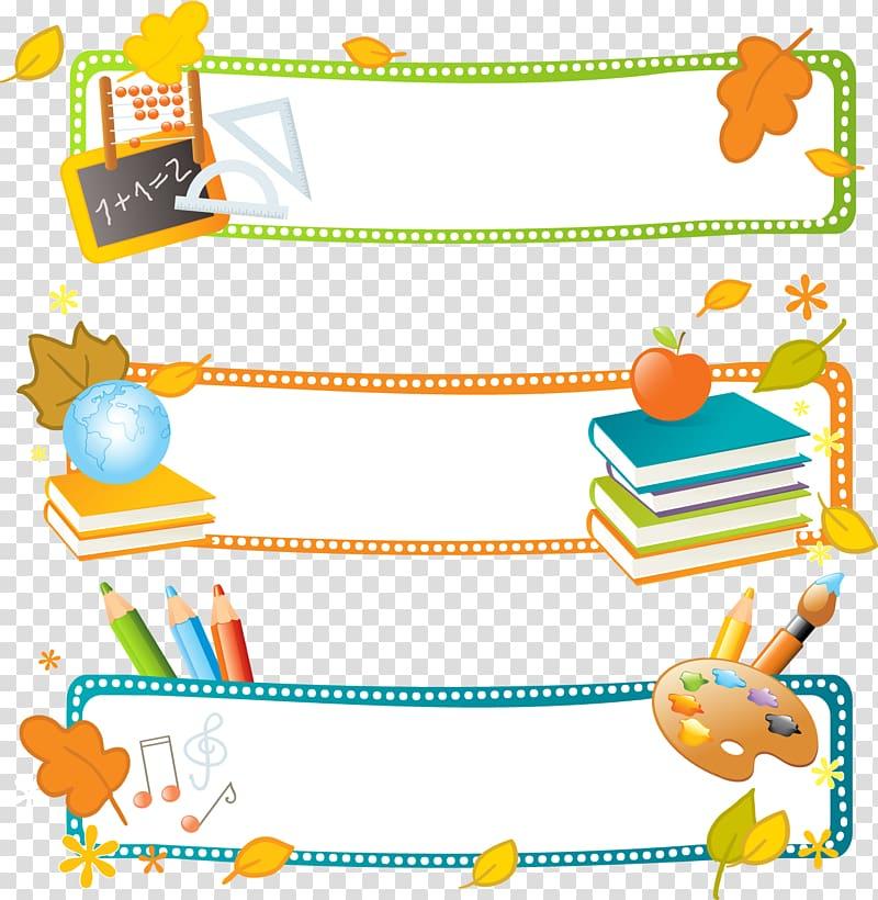 Background clipart design banner transparent download Three assorted-color-and-design border graphics, School Banner ... banner transparent download