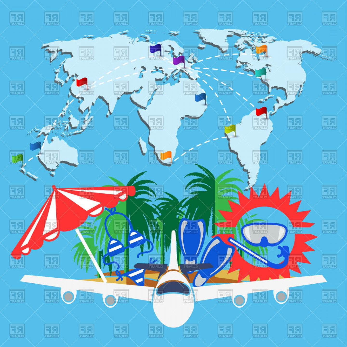Travel Background With Word Map And Airplane Vector Clipart   SOIDERGI image transparent stock