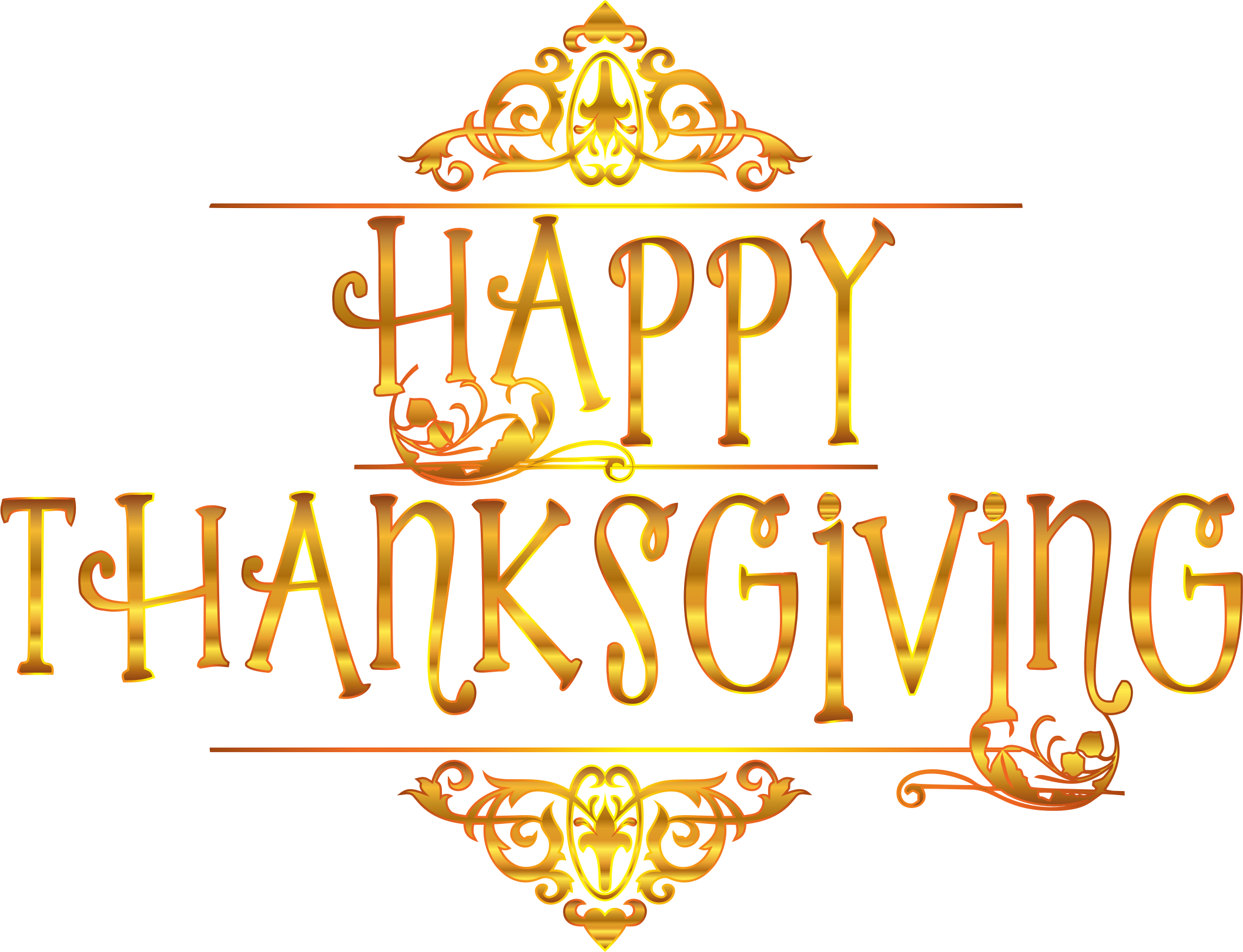 Thanksgiving clipart background picture library download Clipart - Gold Happy Thanksgiving Typography Variation 2 No Background picture library download