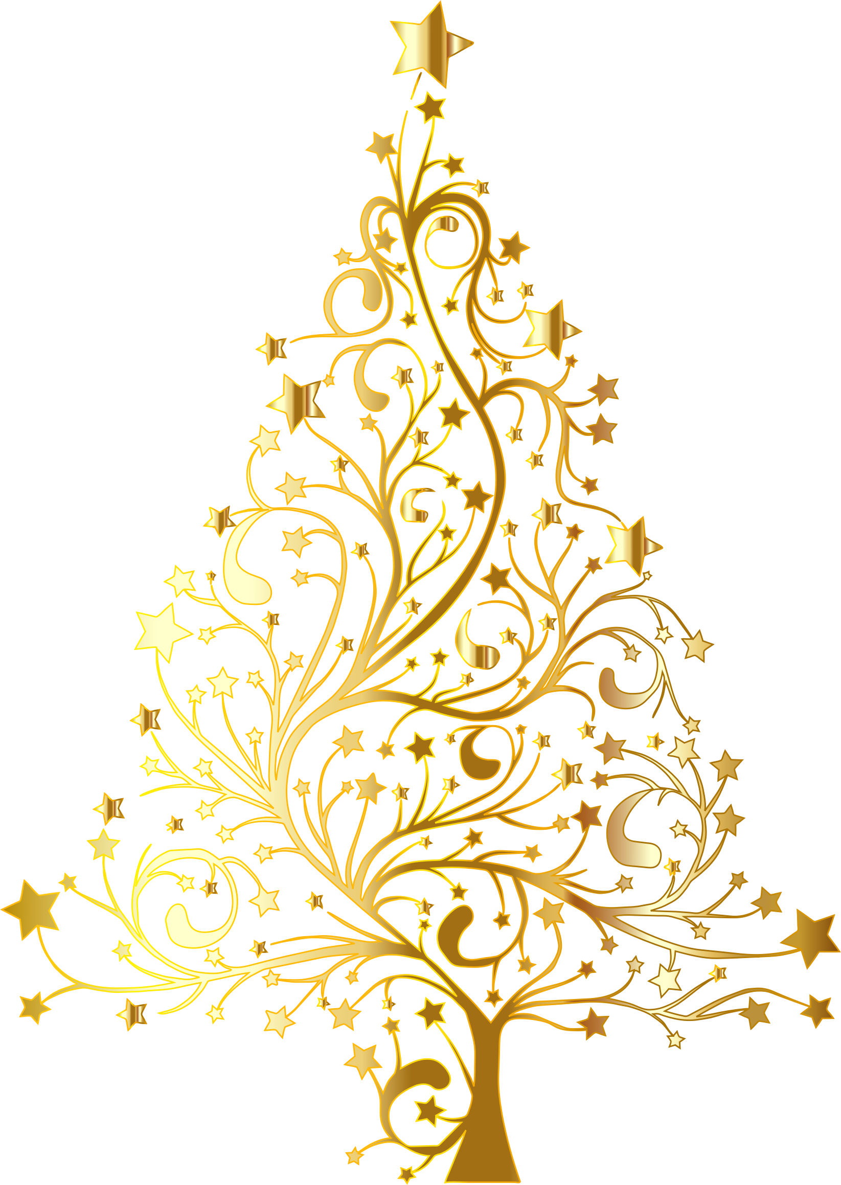 Tree no leaves clipart picture library stock Starry Christmas Tree Gold No Background picture library stock