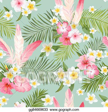 Background vintage clipart vector library Vector Illustration - Tropical flowers background. vintage seamless ... vector library