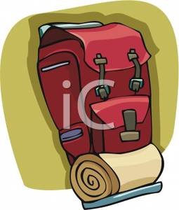 Backpack and bedroll clipart png royalty free download Sleeping Bag On A Backpack - Royalty Free Clipart Picture png royalty free download