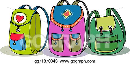 Backpack and materials school clipart image library download Vector Stock - Three vector colorful children backpacks. Stock Clip ... image library download