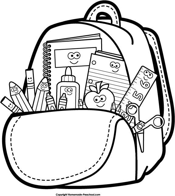 Back to School Clipart Black and White Backpack | SVG Files | School ... graphic free download