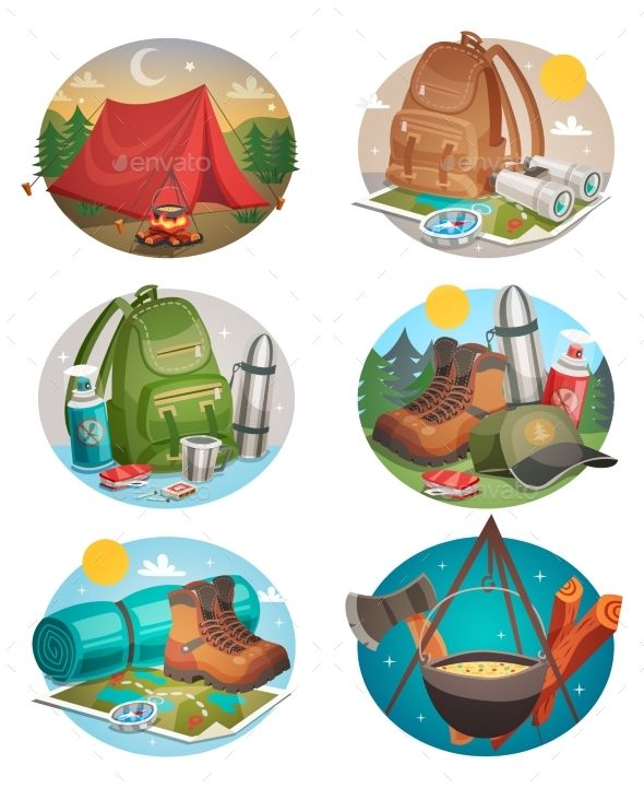 Backpack with tent clipart clip library Camping set of round compositions with tent bonfire backpack and ... clip library