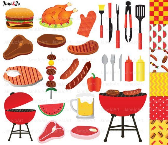 Backpacking food clipart vector black and white download BBQ Clipart , Barbeque Clipart , Summer Clipart ,Grill Party Food ... vector black and white download
