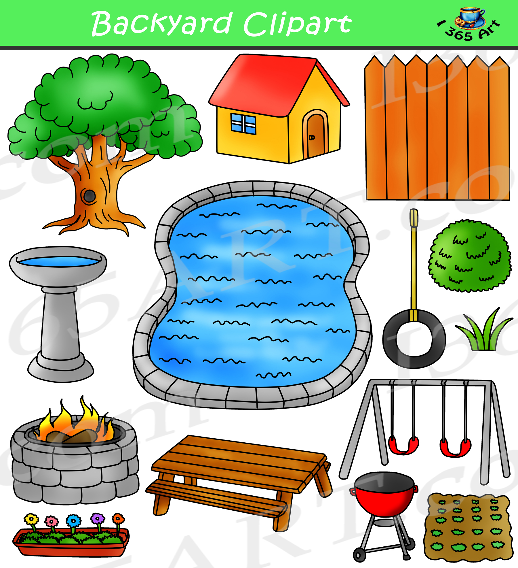 Backyard clipart clip art royalty free download Spring Backyard Clipart Bundle clip art royalty free download