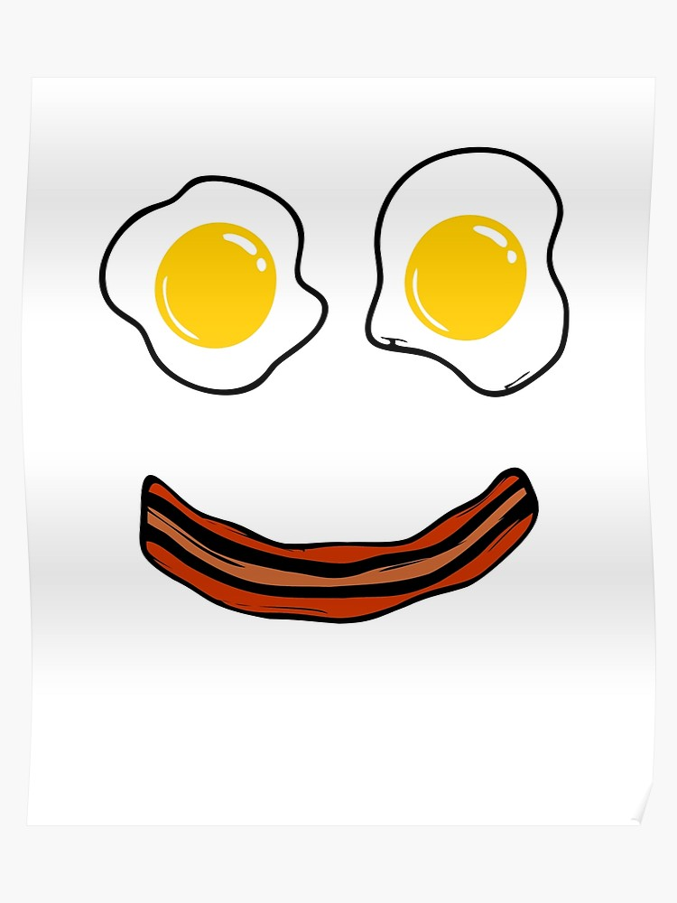 Bacon and eggs border clipart svg black and white download Bacon and Eggs Funny Face Breakfast Smiley Face | Poster svg black and white download