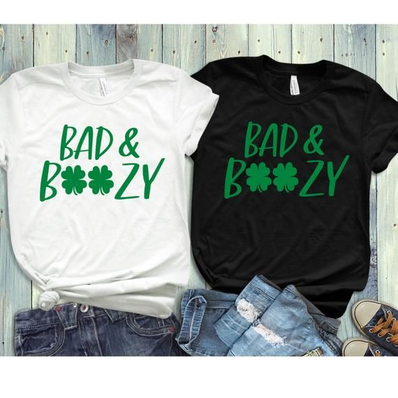 Bad and boozy clipart image royalty free St. Patricks Day Shirt Women, Bad and Boozy, Let\'s Get Ready to ... image royalty free