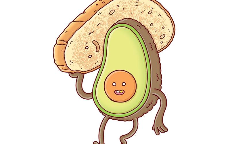 Bad avocado cartoon clipart black and white library In Defense of Avocado Toast Los Angeles Magazine black and white library