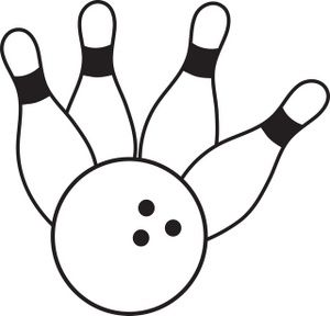 Black and white bowling clipart