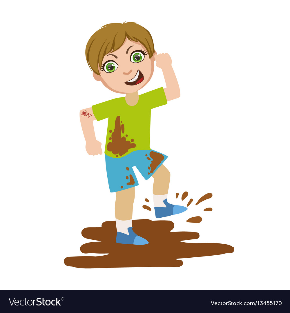 Bad kid clipart clip royalty free library Boy jumping in dirt part of bad kids behavior and vector image clip royalty free library