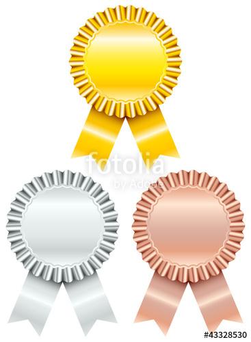 Badge award ribbon clipart svg jpg free Award Badges Golden/Silver/Bronze Ribbon\