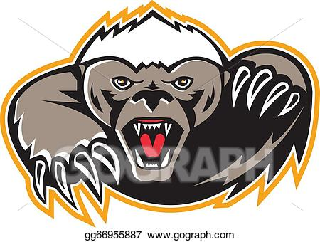 Badger mascot clipart picture library library Vector Art - Honey badger mascot claw. EPS clipart gg66955887 - GoGraph picture library library