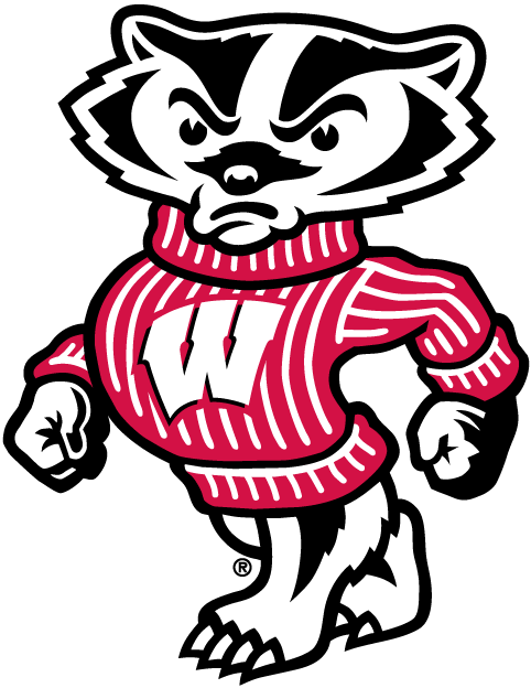 Badger mascot clipart png black and white library Wisconsin Badgers Mascot Logo - NCAA Division I (u-z) (NCAA u-z ... png black and white library