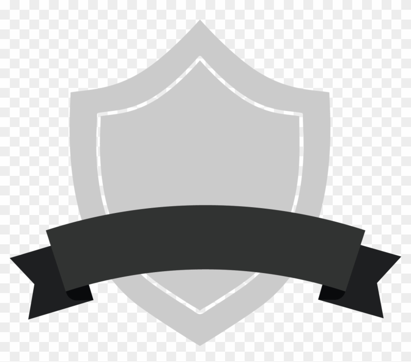 Badges with ribbon clipart black and white svg library download Gray Shield Badge With Black Ribbon - Black Ribbon Banner, HD Png ... svg library download
