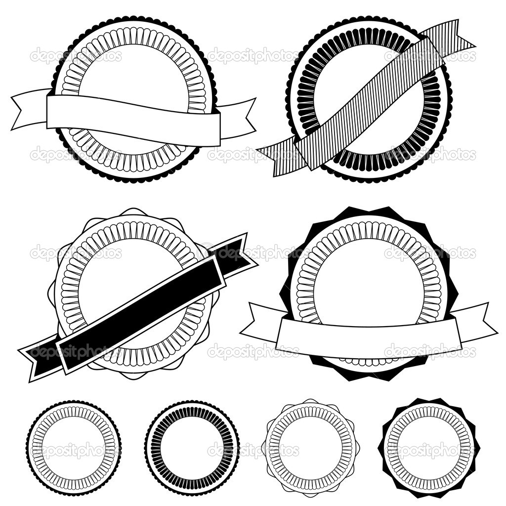 Badges with ribbon clipart black and white free download Black And White Badge Vector free download