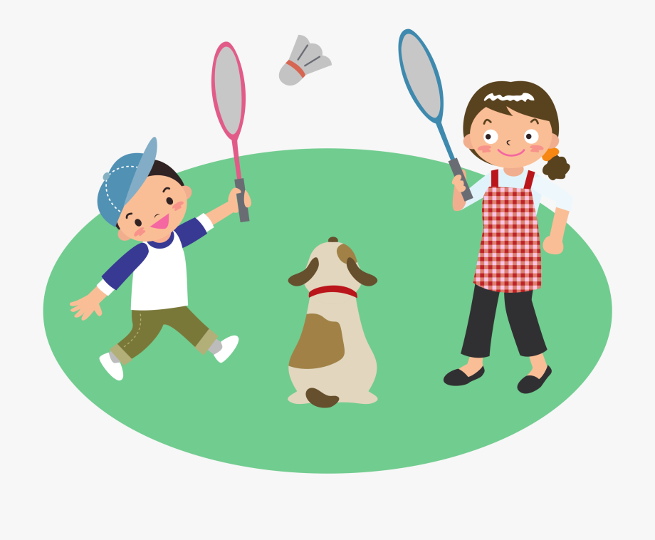 Play badminton clipart svg download Mother Plays Badminton With Son And Dog Clipart Library - Playing ... svg download
