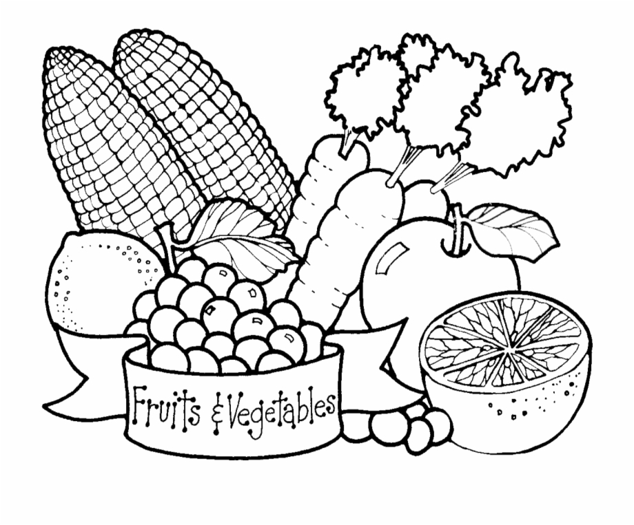 Free fruits in bag clipart black and white graphic royalty free Fruits & Veggies Bag , Png Download - Drawing Fruits And Vegetable ... graphic royalty free