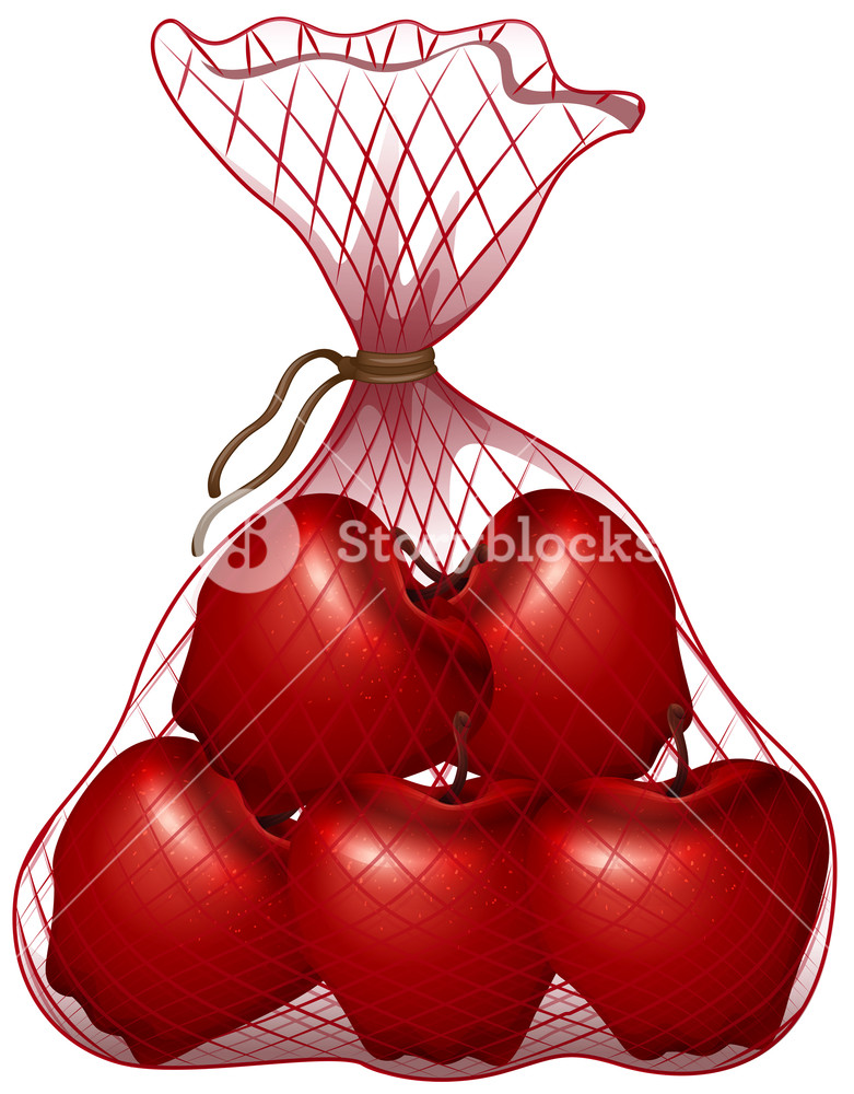 Bag of fruits clipart svg transparent library Red apples in the bag illustration Royalty-Free Stock Image ... svg transparent library