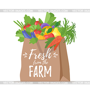 Bag of fruits clipart download Paper bag with vegetables - vector clipart download