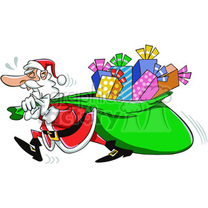 Bag of gifts clipart image black and white library santa pulling a huge bag of gifts cartoon clipart. Royalty-free clipart #  400376 image black and white library