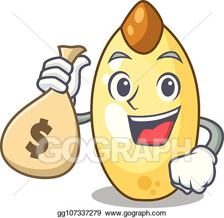 Bag of nuts clipart image royalty free Vector Illustration - With money bag cedar nut on cartoon wooden ... image royalty free