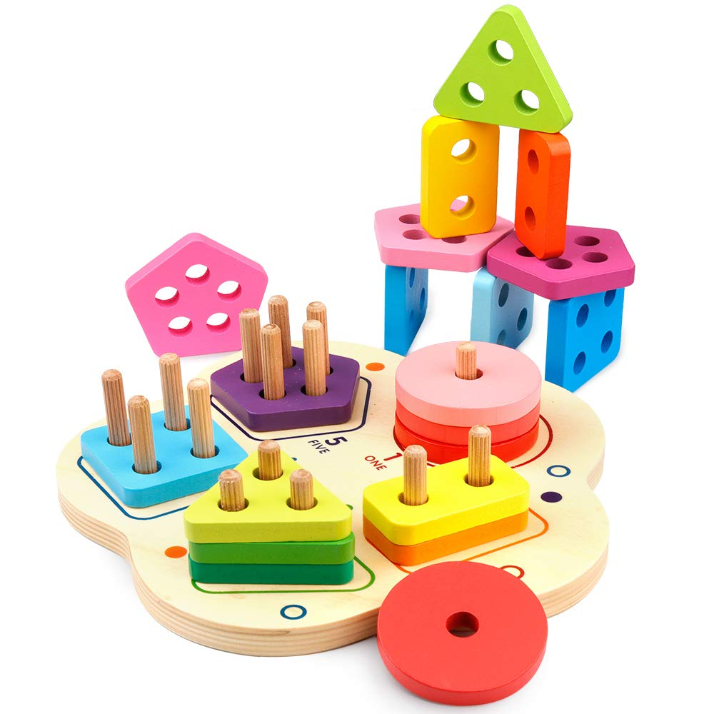 Bag of toys fraction clipart vector transparent D-FantiX Wooden Puzzle Educational Shape Sorter Color Recognition,  Preschool Geometric Board Fraction Puzzle Blocks Stack Sort Matching Toys  for Age 2 ... vector transparent