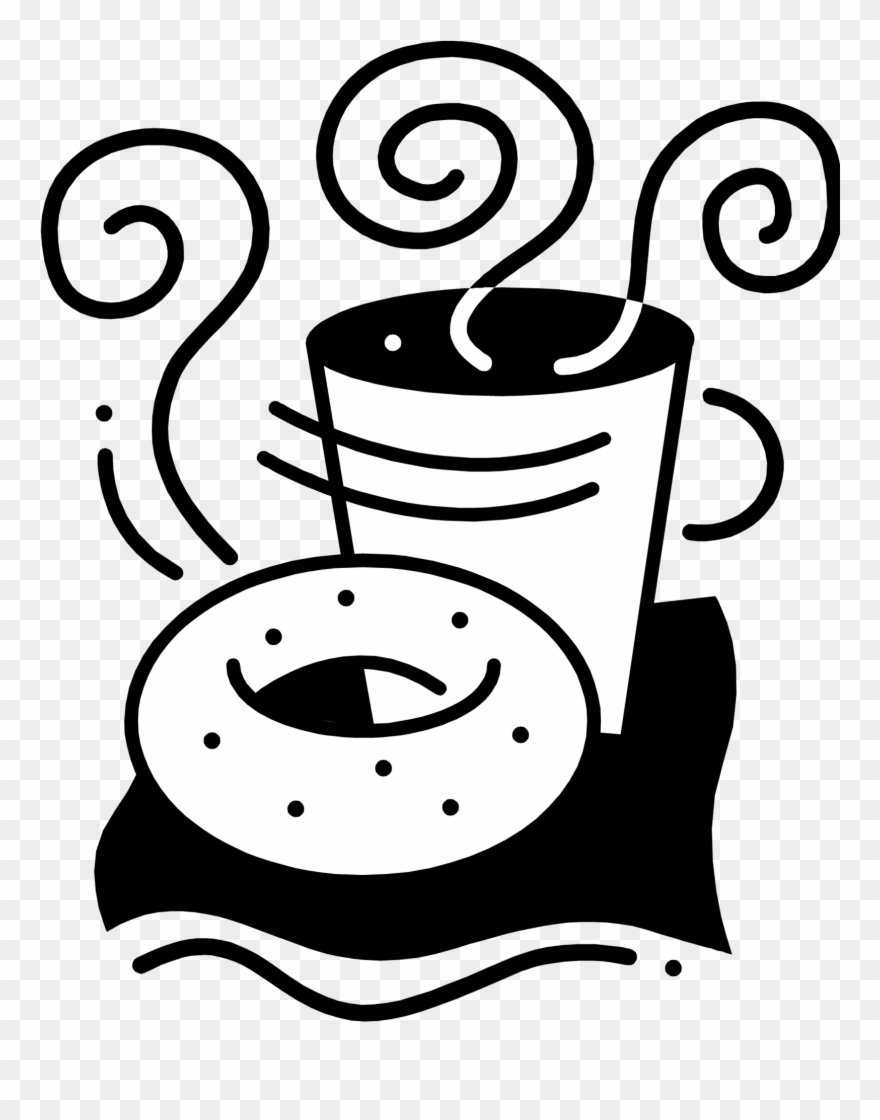 Bagel clipart black and white png transparent Png Royalty Free Stock Bagel Drawing Coffee Donut - Coffee And ... png transparent