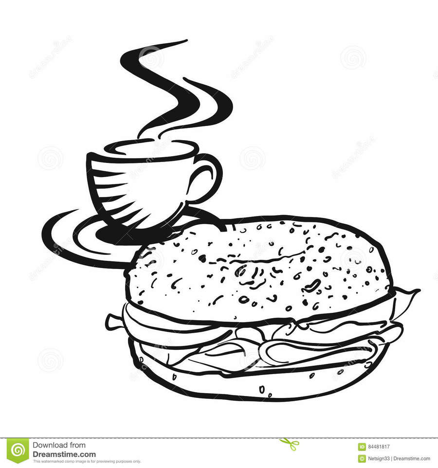 Bagel clipart black and white clip transparent stock Coffee, Cafe, Drawing, Text, Font, Cup, Food, Design, Illustration ... clip transparent stock