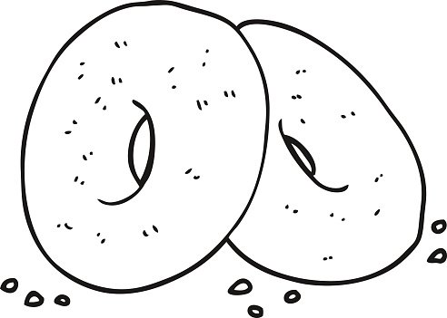 Bagel clipart black and white clipart black and white stock Black and White Cartoon Bagels premium clipart - ClipartLogo.com clipart black and white stock