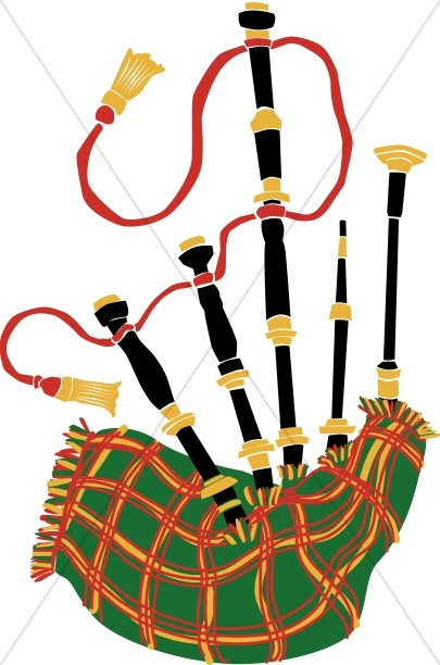 Bagpipe clipart banner stock Plaid Bagpipes | Church Music Clipart banner stock