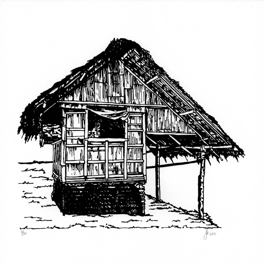 Bahay kubo clipart black and white picture freeuse library Nipa Hut Sketch at PaintingValley.com | Explore collection of Nipa ... picture freeuse library