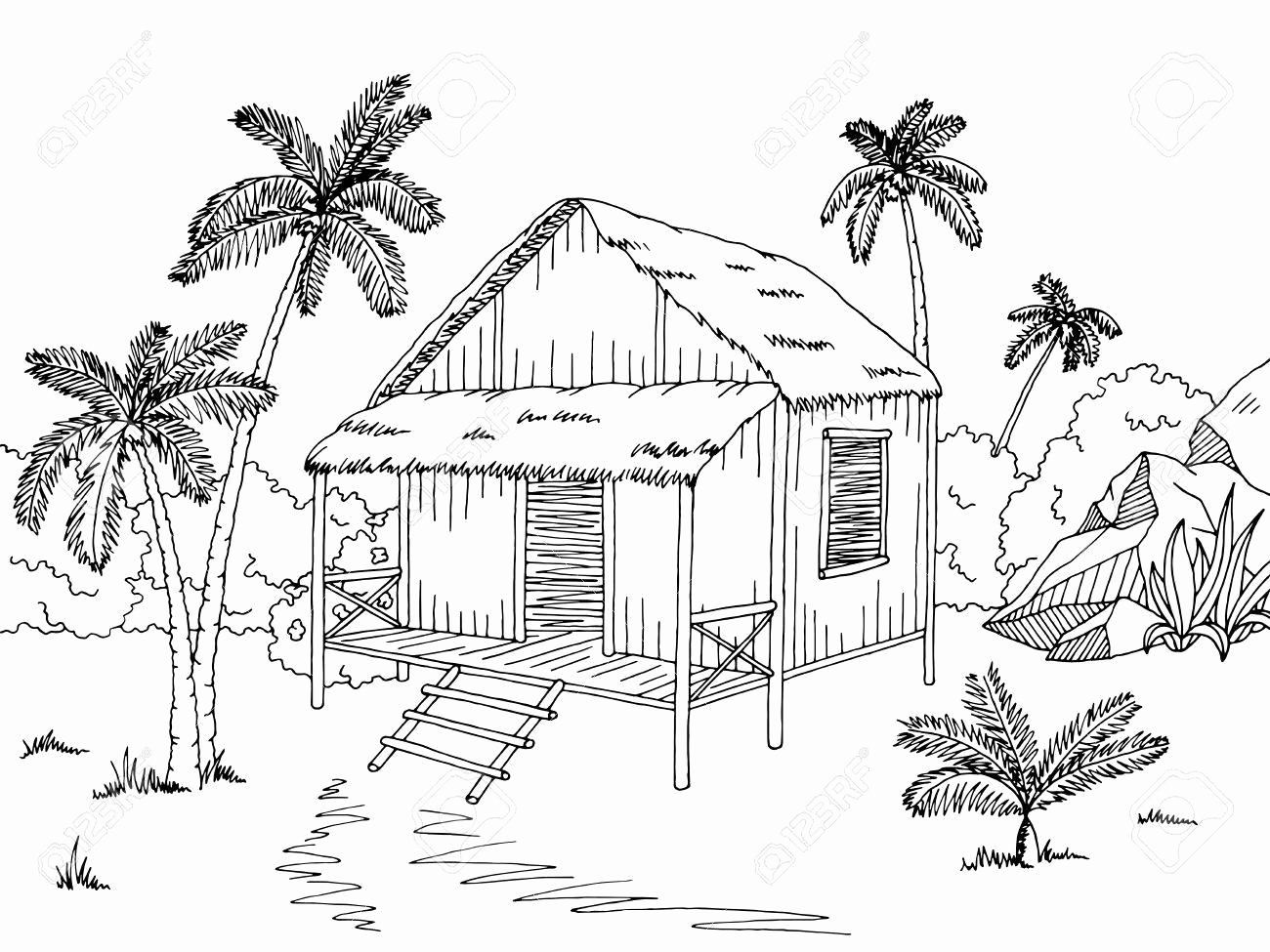 Bahay kubo clipart black and white vector freeuse download Nipa Hut Drawing at PaintingValley.com | Explore collection of Nipa ... vector freeuse download