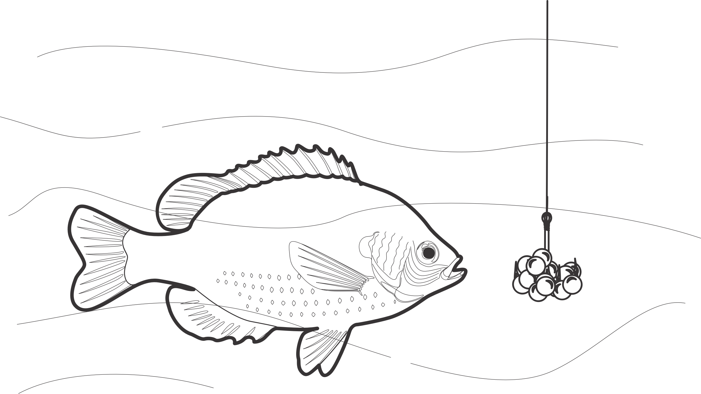 Fish with bubbles clipart black and white banner freeuse stock Clipart - Beaded Fish Bait banner freeuse stock