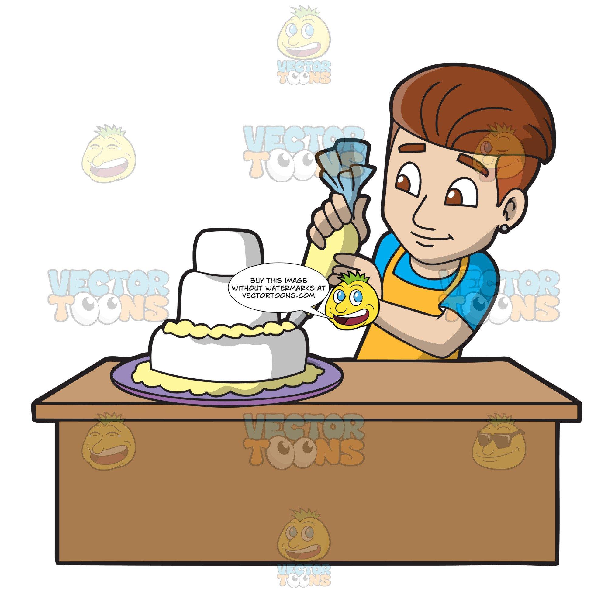 Bake cake clipart transparent stock A Man Decorating A Wedding Cake transparent stock