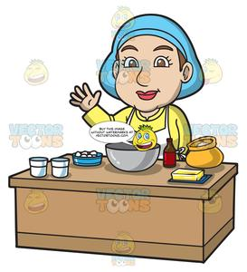 Bake cake clipart black and white A Woman Preparing To Bake A Cake black and white