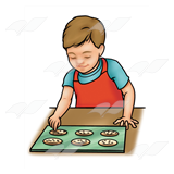 Bake cookies clipart royalty free download Boy Baking, cookies on cookie sheet royalty free download