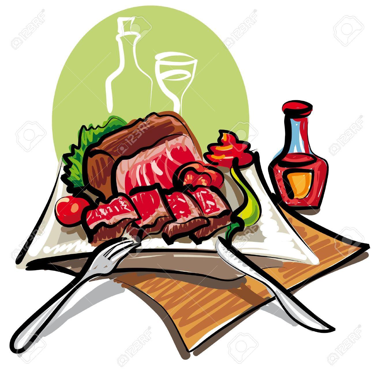 Baked steak dinner clipart free jpg black and white download Cooked Steak Clipart | Free download best Cooked Steak Clipart on ... jpg black and white download