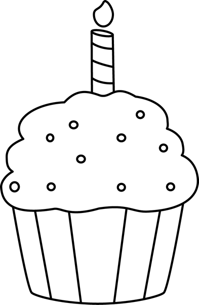 Cupcake 2 candles clipart black and white svg library Black and White Birthday Cupcake Clip Art - Black and White Birthday ... svg library