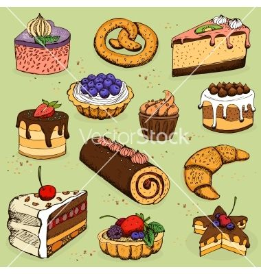 Baking and pastry clipart freeuse download Pies and flour products for bakery pastry vector - by macrovector on ... freeuse download