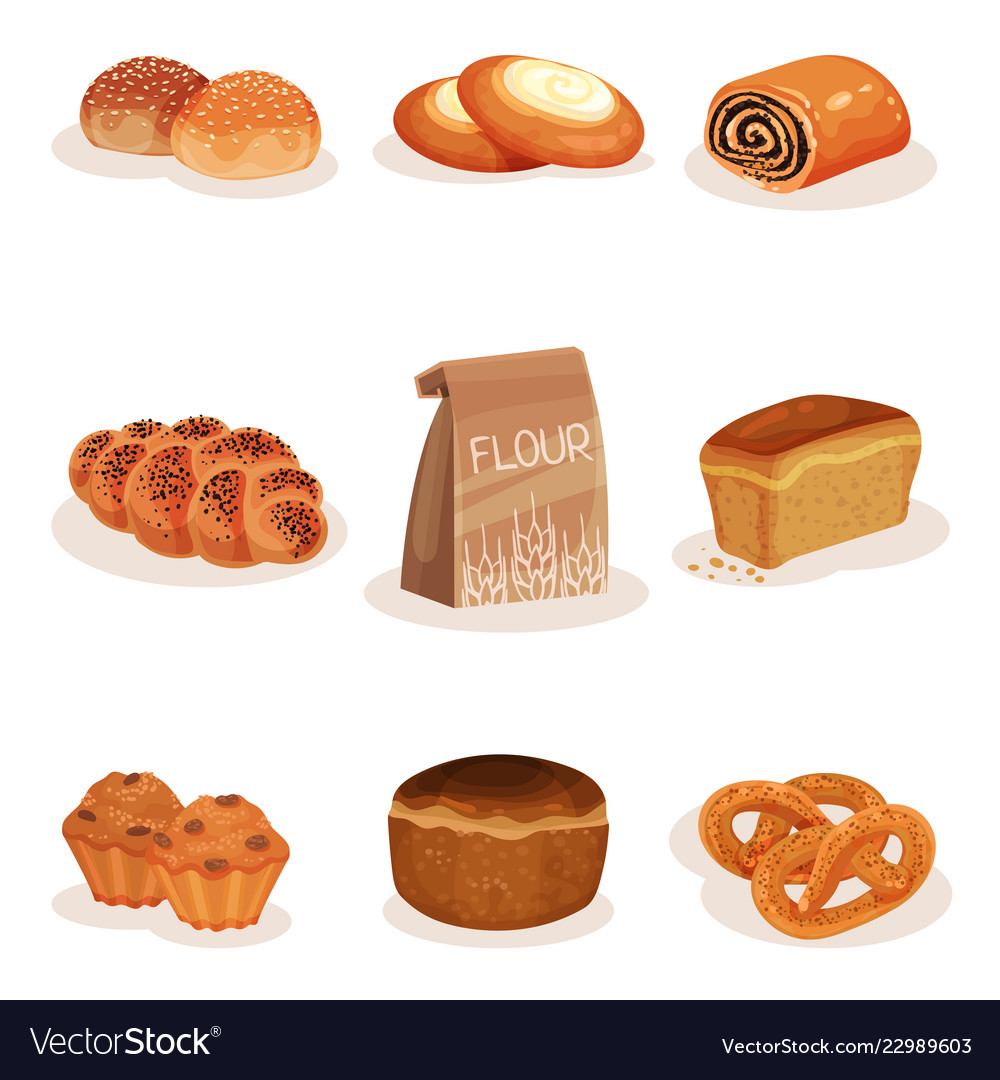 Baking and pastry clipart clip library Fresh baked bread and bakery pastry products set clip library