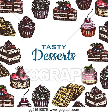 Baking and pastry clipart vector free library Vector Art - Bakery or pastry food poster, dessert cake. Clipart ... vector free library