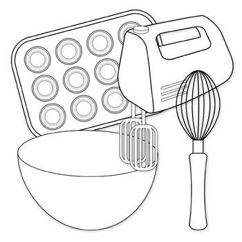 Baking black and white clipart jpg free stock Baking Clip Art Digital Clipart Color and Black and White jpg free stock