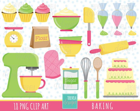 Baking items clipart black and white 50% SALE BAKING clip art, commercial use, kitchen clipart, baking ... black and white