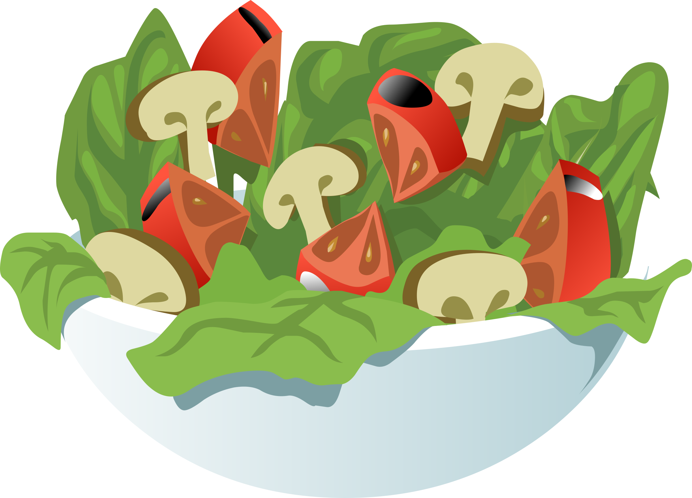 Clipart of fat cat eating vegetables